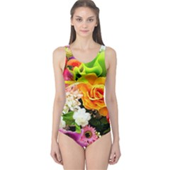 Colorful Flowers One Piece Swimsuit