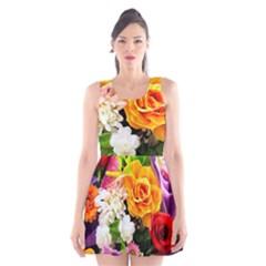 Colorful Flowers Scoop Neck Skater Dress