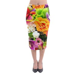 Colorful Flowers Midi Pencil Skirt by BangZart
