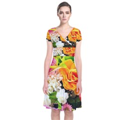 Colorful Flowers Short Sleeve Front Wrap Dress
