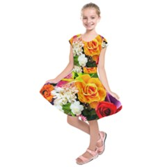 Colorful Flowers Kids  Short Sleeve Dress