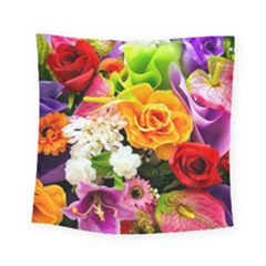 Colorful Flowers Square Tapestry (small) by BangZart