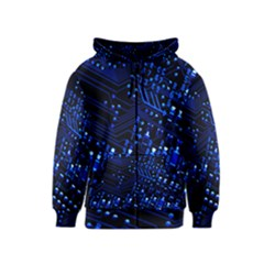 Blue Circuit Technology Image Kids  Zipper Hoodie