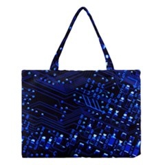Blue Circuit Technology Image Medium Tote Bag by BangZart