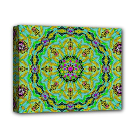 Golden Star Mandala In Fantasy Cartoon Style Deluxe Canvas 14  X 11  by pepitasart