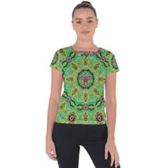 Golden Star Mandala In Fantasy Cartoon Style Short Sleeve Sports Top  by pepitasart