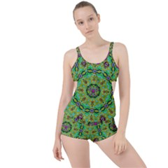 Golden Star Mandala In Fantasy Cartoon Style Boyleg Tankini Set  by pepitasart