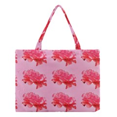 Pink Floral Pattern Medium Tote Bag by paulaoliveiradesign