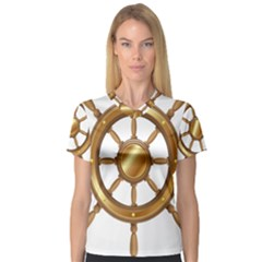 Boat Wheel Transparent Clip Art V Neck Sport Mesh Tee