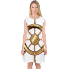 Boat Wheel Transparent Clip Art Capsleeve Midi Dress