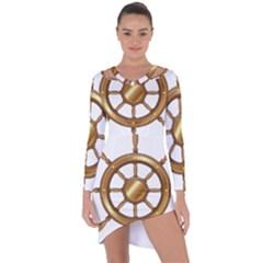 Boat Wheel Transparent Clip Art Asymmetric Cut Out Shift Dress