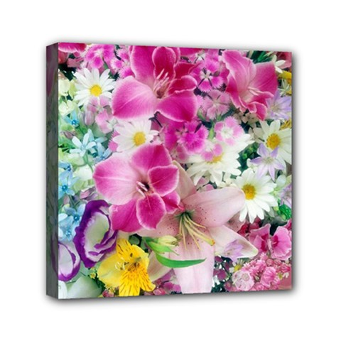 Colorful Flowers Patterns Mini Canvas 6  X 6  by BangZart