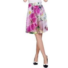 Colorful Flowers Patterns A Line Skirt