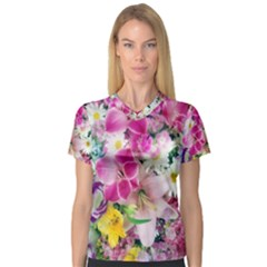Colorful Flowers Patterns V Neck Sport Mesh Tee