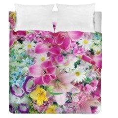 Colorful Flowers Patterns Duvet Cover Double Side (queen Size)