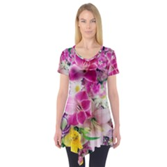 Colorful Flowers Patterns Short Sleeve Tunic