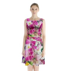 Colorful Flowers Patterns Sleeveless Waist Tie Chiffon Dress
