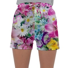 Colorful Flowers Patterns Sleepwear Shorts
