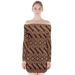 Batik The Traditional Fabric Long Sleeve Off Shoulder Dress