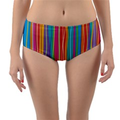 Colorful Striped Background Reversible Mid Waist Bikini Bottoms