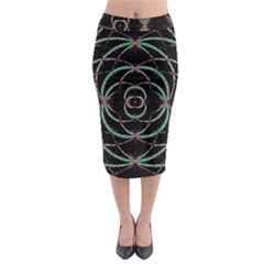 Abstract Spider Web Midi Pencil Skirt