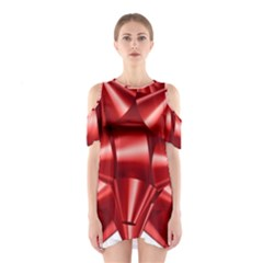 Red Bow Shoulder Cutout One Piece