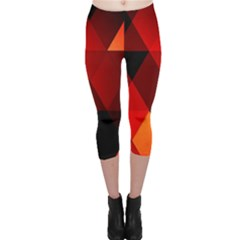 Abstract Triangle Wallpaper Capri Leggings