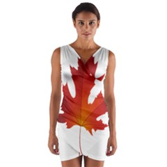 Autumn Maple Leaf Clip Art Wrap Front Bodycon Dress