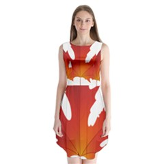 Autumn Maple Leaf Clip Art Sleeveless Chiffon Dress