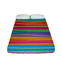 Colorful Horizontal Lines Background Fitted Sheet (full/ Double Size) by TastefulDesigns