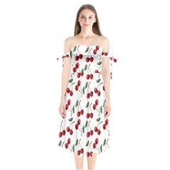 Cherry Red Shoulder Tie Bardot Midi Dress by Kathrinlegg