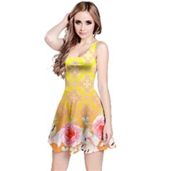 Yellow Retro Floral Pattern Reversible Sleeveless Dress