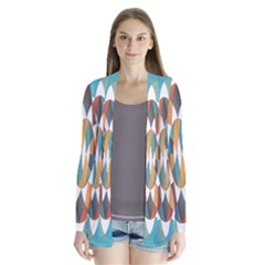 Colorful Geometric Abstract Drape Collar Cardigan by linceazul