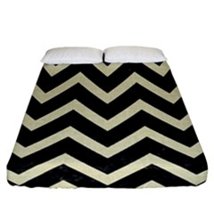 Chevron9 Black Marble & Beige Linen Fitted Sheet (california King Size) by trendistuff