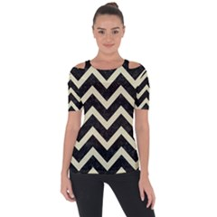 Chevron9 Black Marble & Beige Linen Short Sleeve Top