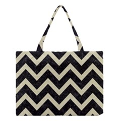 Chevron9 Black Marble & Beige Linen Medium Tote Bag by trendistuff