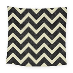 Chevron9 Black Marble & Beige Linen Square Tapestry (large) by trendistuff