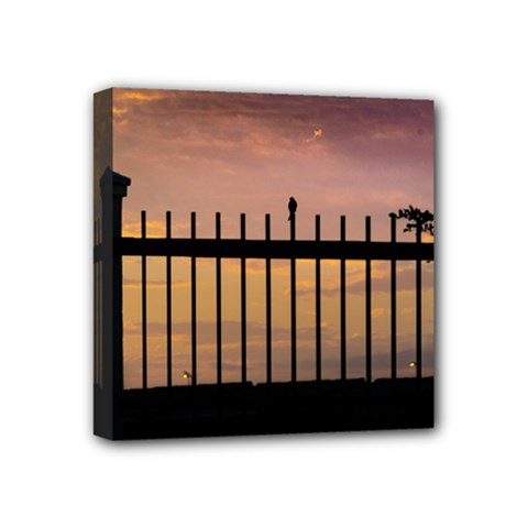 Small Bird Over Fence Backlight Sunset Scene Mini Canvas 4  X 4  by dflcprints