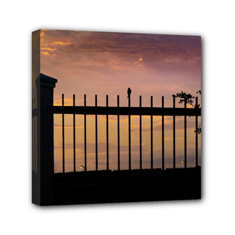 Small Bird Over Fence Backlight Sunset Scene Mini Canvas 6  X 6  by dflcprints