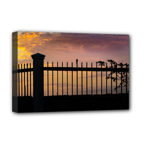 Small Bird Over Fence Backlight Sunset Scene Deluxe Canvas 18  X 12   by dflcprints