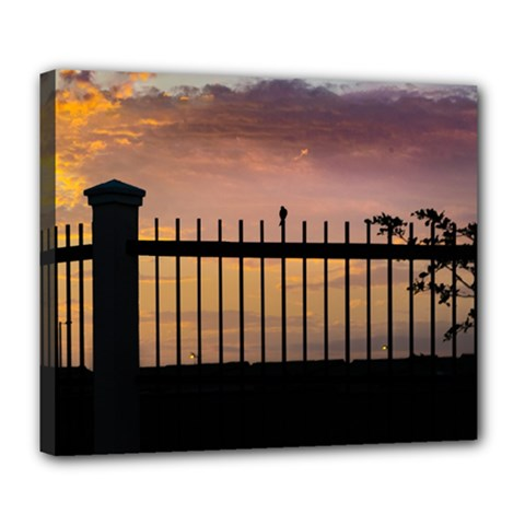 Small Bird Over Fence Backlight Sunset Scene Deluxe Canvas 24  X 20   by dflcprints