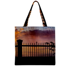 Small Bird Over Fence Backlight Sunset Scene Grocery Tote Bag by dflcprints
