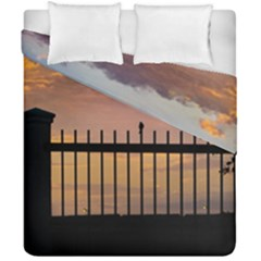 Small Bird Over Fence Backlight Sunset Scene Duvet Cover Double Side (california King Size) by dflcprints