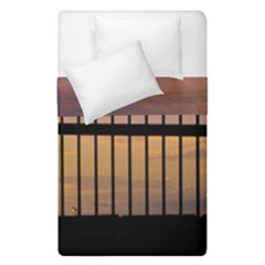 Small Bird Over Fence Backlight Sunset Scene Duvet Cover Double Side (single Size) by dflcprints