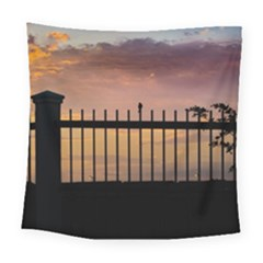 Small Bird Over Fence Backlight Sunset Scene Square Tapestry (large) by dflcprints