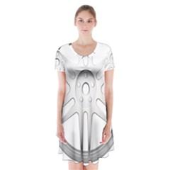 Wheel Skin Cover Short Sleeve V Neck Flare Dress