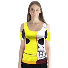 Skull Behind Your Smile Butterfly Sleeve Cutout Tee