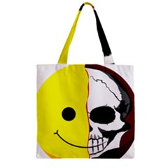 Skull Behind Your Smile Zipper Grocery Tote Bag