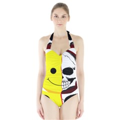 Skull Behind Your Smile Halter Swimsuit