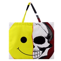 Skull Behind Your Smile Zipper Large Tote Bag by BangZart